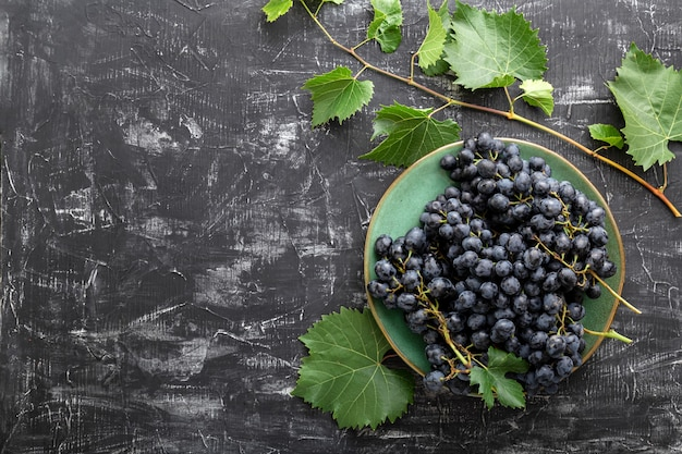 어두운 콘크리트 배경에 있는 달콤한 검은 포도 음식은 복사 공간이 있는 평평한 바닥에 놓여 있습니다. 어두운 탁자 위에 덩굴 식물이 있는 녹색 빈티지 접시에 있는 검은 포도.