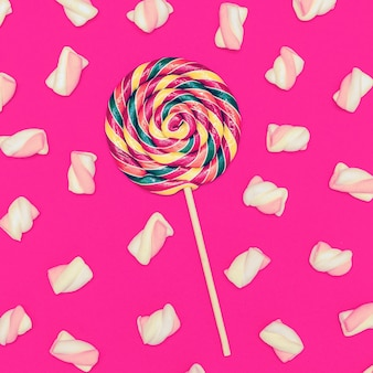 Sweet lollipop mix cocktail. sweet background