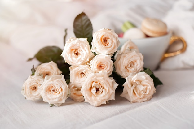 달콤한 마카롱 머그와 흰 장미