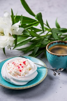 Sweet meringue with cream easy simple and healthy dessert