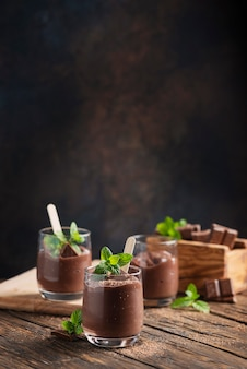 Sweet mousse with chocolate