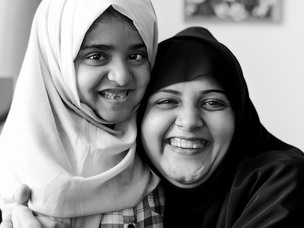 Sweet muslim mother and daughter