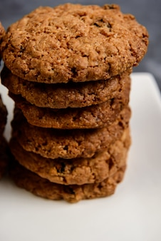 Sweet oatmeal cookies  in plate