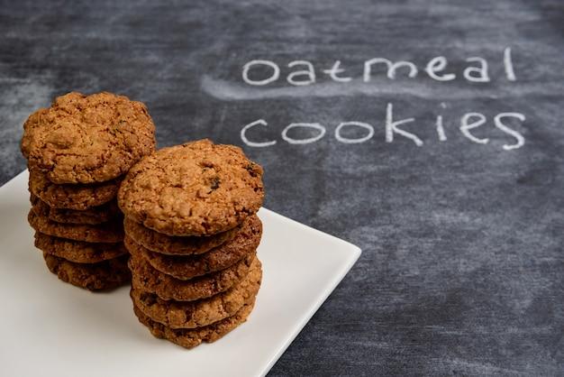 Sweet oatmeal cookies  in plate