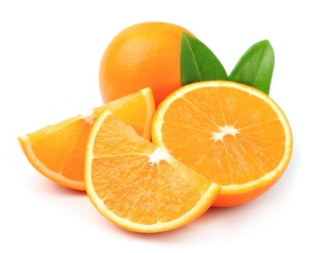 Sweet orange fruit with leaves