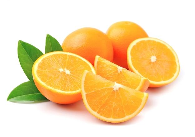 Sweet orange fruit with leaves