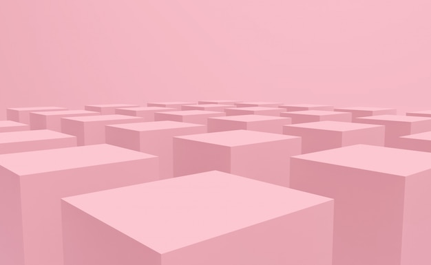 Sweet pastel pink color cube box stack on floor design background.
