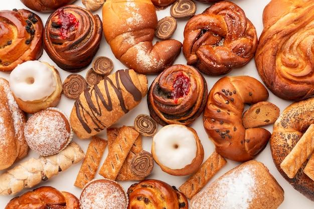 Vista dall'alto assortimento di pasticceria dolce