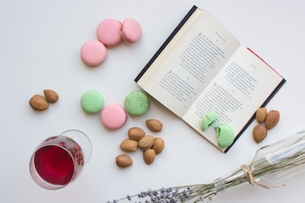 Sweet pause with macarons and book