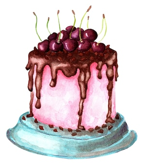 Sweet pink cake with chocolate icing and juicy cherries on it festive illustration thanksgiving