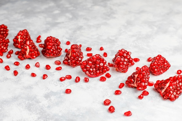 Sweet pomegranate seeds,selective focus