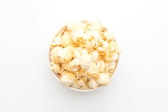Sweet popcorn on white background
