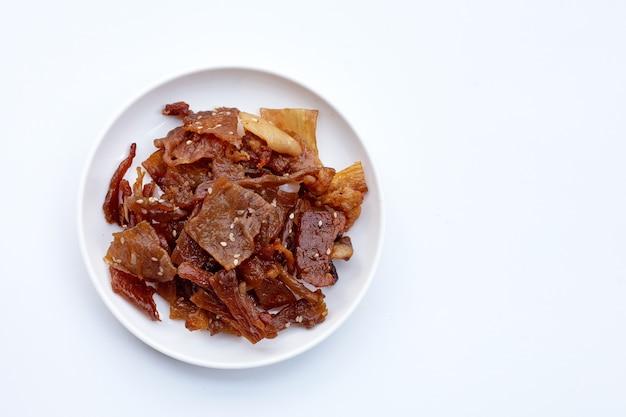 달콤한 돼지 고기 또는 돼지 고기 절연