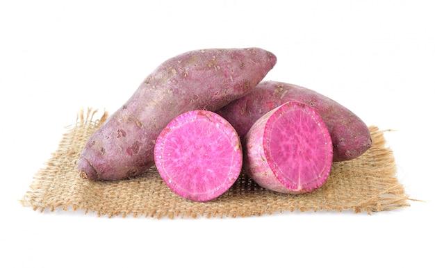 Sweet potato on the white
