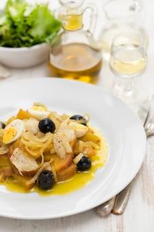 タラ魚、タマネギ、白い皿に卵とサツマイモ