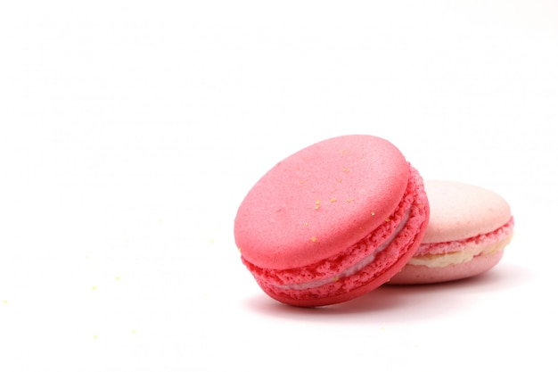 Sweet raspberries macaroons isolated on white background. clipping path.