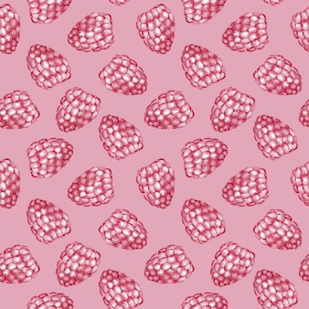 Sweet raspberry seamless pattern. watercolor illustration.