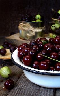 Sweet ripe cherry wood rustic