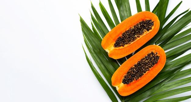 熱帯のヤシに甘い熟したパパイヤを葉します。上面図