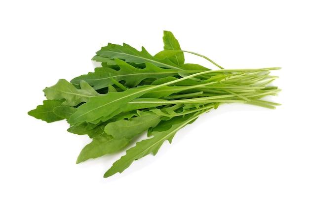 달콤한 rucola 샐러드 또는 로켓 양상추 잎에 고립 된 흰색 바