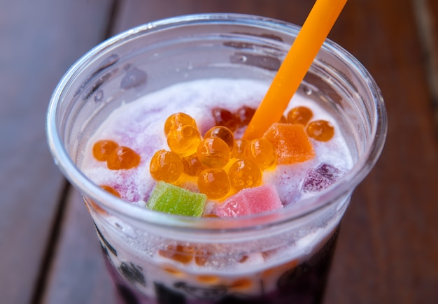 Sweet soda smoothie with jelly.