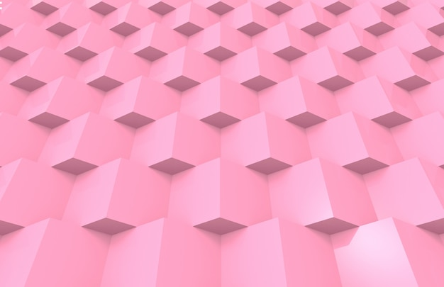 Sweet soft pink color tone grid square box stack design wall