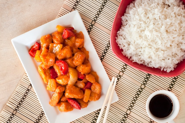 Sweet and sour chicken with bell pepper and pineapple