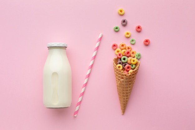 Sweet sugar cone with colorful cereal