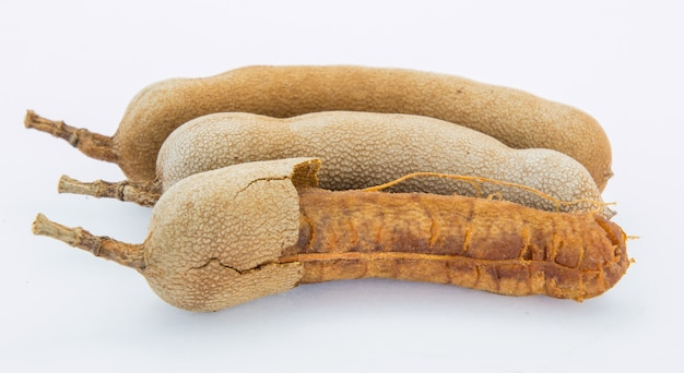 The sweet tamarind for eating on white background