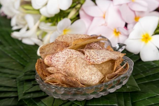 Sweet taro crisps, thai dessert