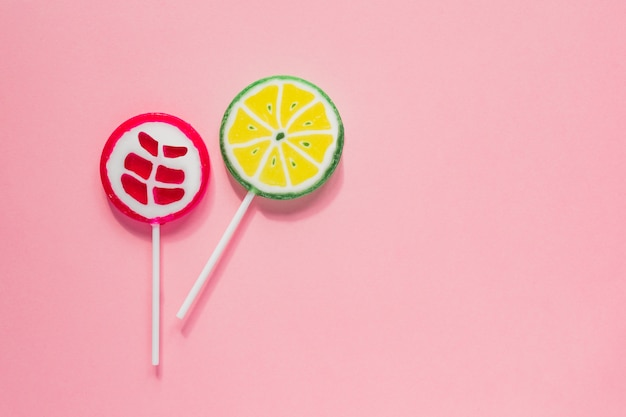 Sweet tasty lollipops. minimal flat lay with copy space