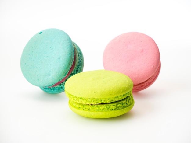 Sweet three macarons love on white