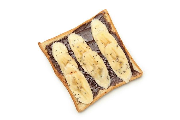 Sweet toast with banana isolated on white background