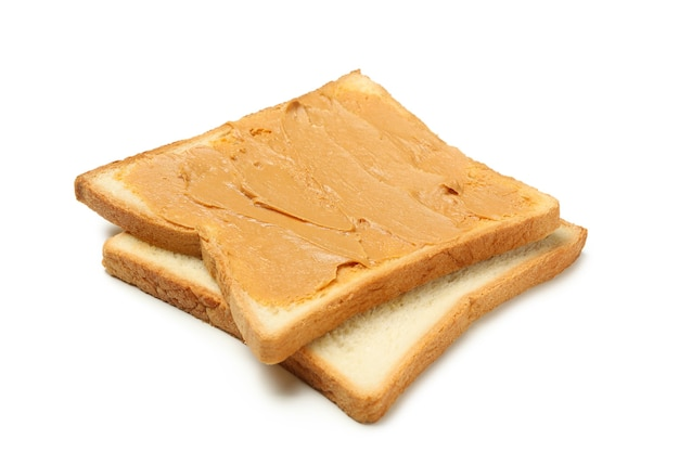 Sweet toast with peanut butter isolated on white