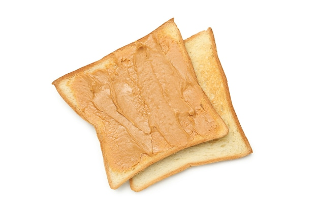 Sweet toast with peanut butter isolated