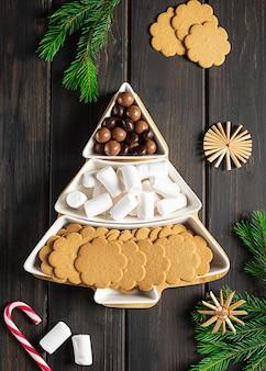 Sweet treats on a christmastreeshaped sectional plate