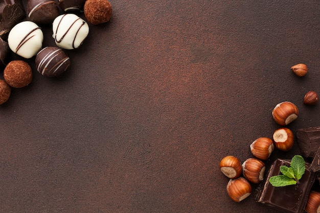Sweet truffles and chestnuts copy space