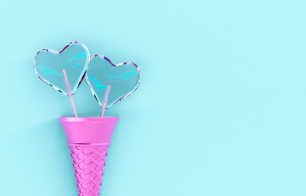 Sweet valentine's day heart shape lollipop candy with ice cream cone on isolated background. love concept. top view. flat lay. 3d render.