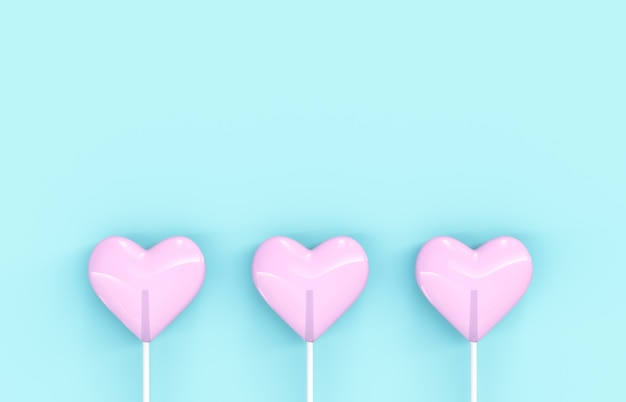 Sweet valentine's day pink heart shape lollipop candy on isolated background. love concept. top view. minimalism colorful hipster style. 3d render.