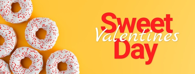 Sweet valentines day concept, donuts with hearts banner