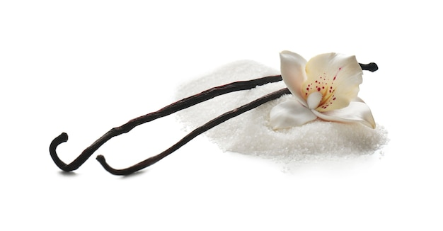Sweet vanilla sugar on white background