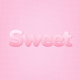 Dolce in parola in stile testo gomma da masticare rosa