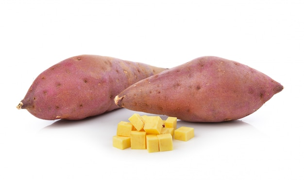 Sweet yam potato on the white space
