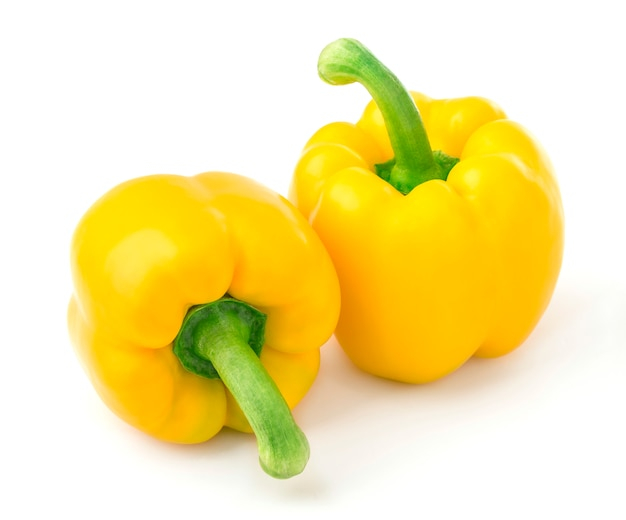 Sweet yellow peppers isolated on white