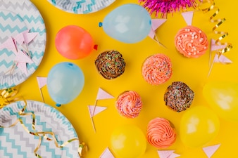 Sweets and decorations for birthday party