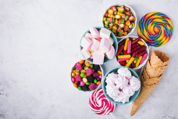 Sweets in bowls