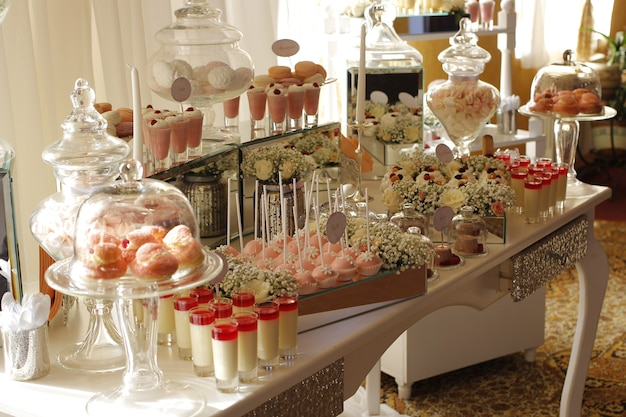 Sweets at a candy bar at a wedding celebration