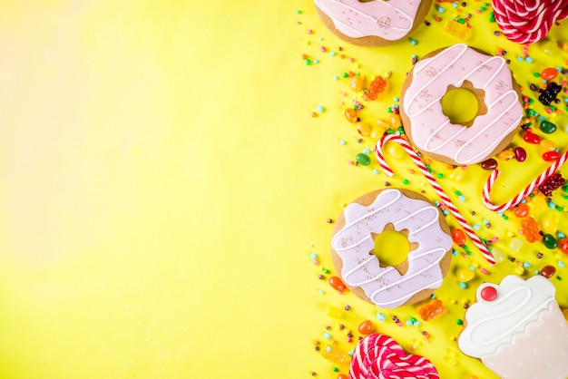 Sweets and candy creative lay out