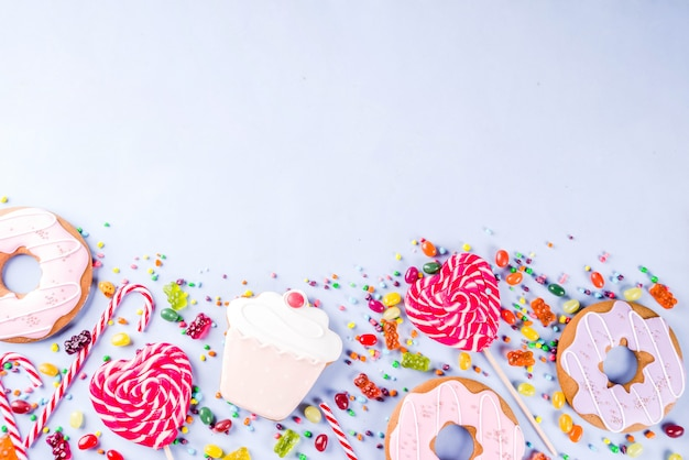 Sweets creative lay out, dessert concept