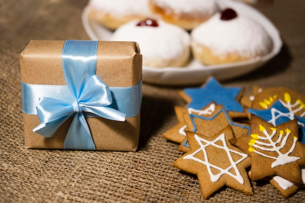 Sweets and gifts traditional hanukkah jewish concept